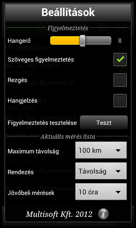 Traffipaxjelző - screenshot