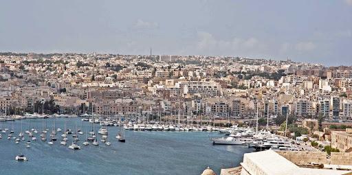 View of Valletta, capital of the Mediterranean island nation of Malta.