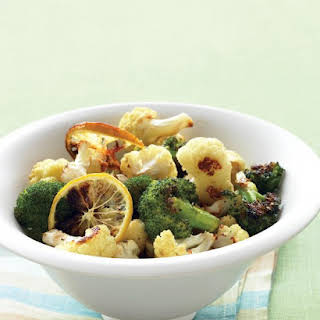 Roasted Broccoli and Cauliflower with Lemon and Garlic.