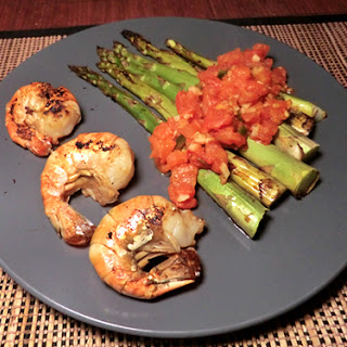 Chinese Chilled Soy-Roasted Asparagus & Shrimp w/ Warm Tomato Sauce.
