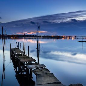 That time of the day by Ricardo  Guimaraes - Buildings & Architecture Bridges & Suspended Structures ( smooth, waterscape, hour, architecture, landscape, reflexion, viana do castelo, mirror, cold, blue, sunset, buildings, bridges, portugal, , serenity, mood, factory, charity, autism, light, awareness, lighting, bulbs, LIUB, april 2nd )