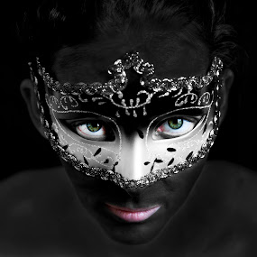 Venetian Green Eyes by Danielle Falknor - People Portraits of Women ( woman eyes, stare, venice carnival italia carnevale venezia, mask, body paint, eyes,  )