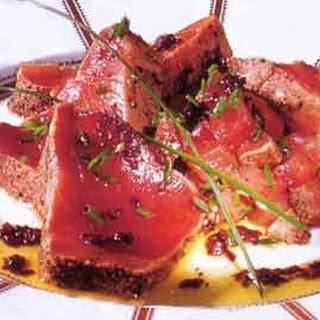 "Seared ""marinated"" Tuna with Black-Olive Vinaigrette"