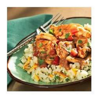 Quick Chicken Peanut Mole with Cilantro Rice