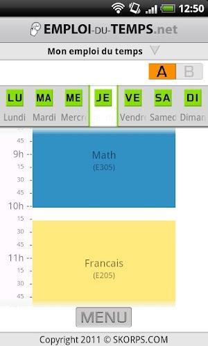 Emploi du temps Android App Screenshot