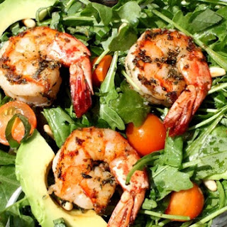 Spicy Shrimp with Avocado and Arugula Salad.