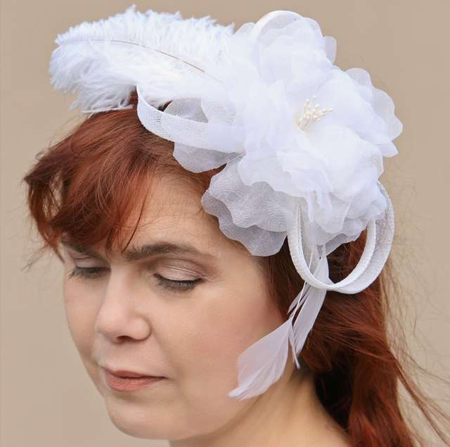 Bridal Headpiece silk flower and feathers on sinamay loops