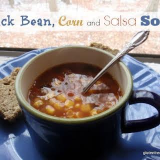 """Pantry"" Black Bean, Corn, and Salsa Soup with Gluten-Free, Grain-Free, Dairy-Free, Sugar-Free Paleo Bread."