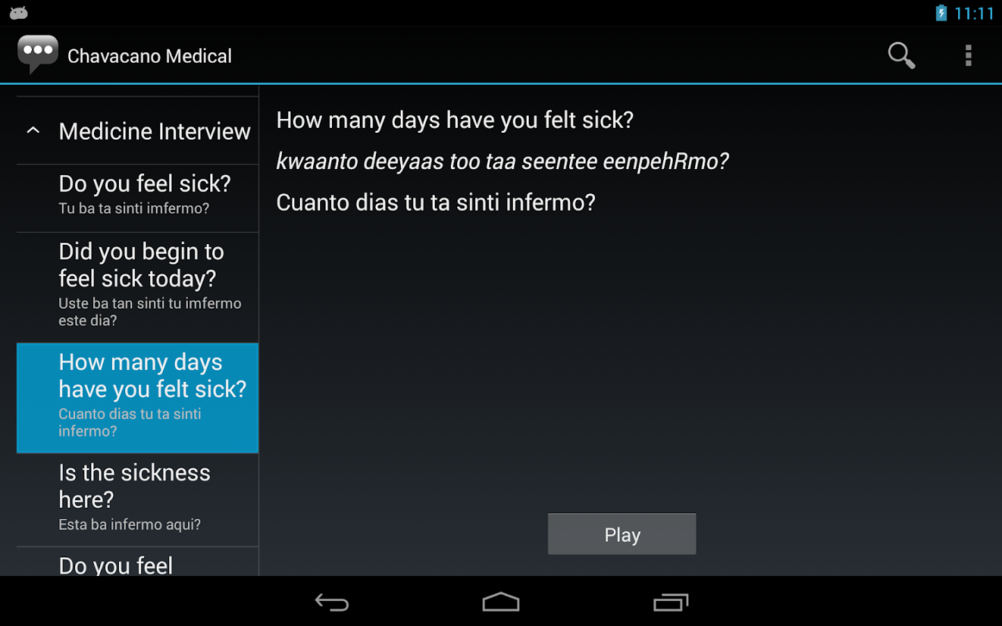 Chavacano Medical Phrases - Works offline- screenshot