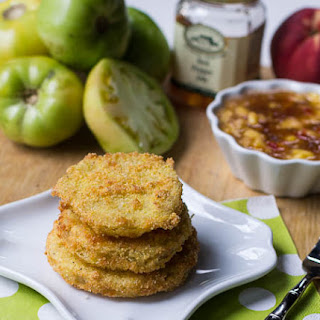 Fried Green Tomatoes with Peach Pepper Jelly Sauce.
