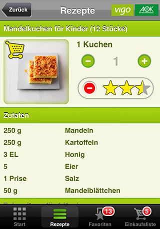 AOK glutenfreie Rezepte - screenshot