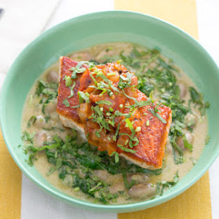 Seared Salmon & Tomato Chutney with Cranberry Bean & Spinach Stew