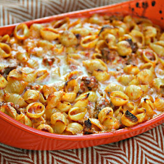 Baked Shells With Roasted Red Pepper Cream Sauce and Italian Sausage.