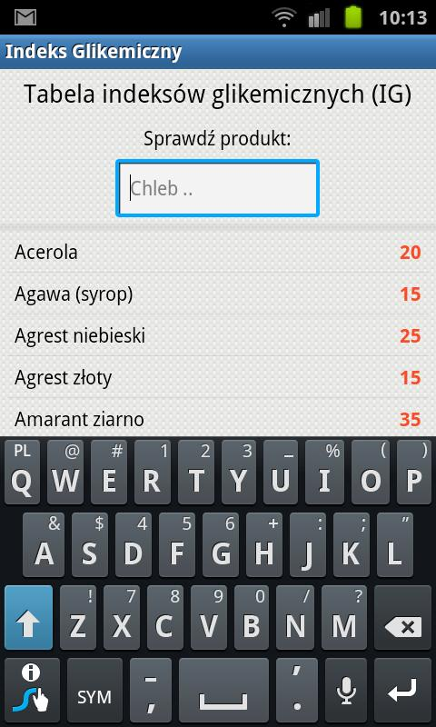 Indeks Glikemiczny IG - screenshot