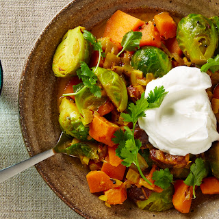 Curried Brussels Sprouts, Chickpeas, and Sweet Potatoes.