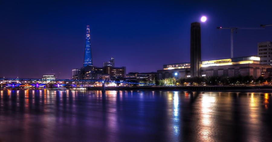 Moonlight over the Thames, London by Marko Pletikosa - City,  Street & Park  Night ( modern, moon, tower, shard, hdr, thames, london, gallery, millenium, bridge, tate, moonlight )
