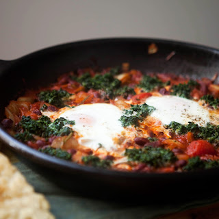 Skillet Bread with Baked Beans, Spinach and Eggs.