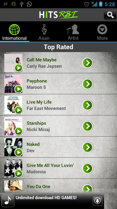 Hits Music Ringback Tone - screenshot