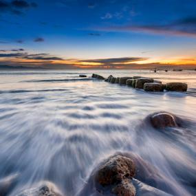 sanur beach bali by Anton Subiyanto - Landscapes Beaches ( water, bali, beaches, dawn, sunset, twilight, long exposure, sunrise, landscape, dusk, rocks, slow shutter )