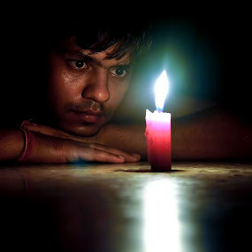 lost by Sandeep Nagar - People Portraits of Men ( candle, candle light, men, light, darkness, hope, , the mood factory, mood, lighting, sassy, pink, colored, colorful, scenic, artificial, lights, scents, senses, hot pink, confident, fun, mood factory , fashion, urban portrait, urban fashion, unique outfit )
