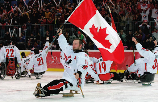 Canadian Flag - 2006 Paralympic Winter Games - Sledge Hockey Gold Medal