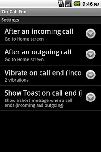 On Call End not call log
