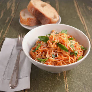 Angel Hair Pasta in a Light Tomato Cream Sauce.