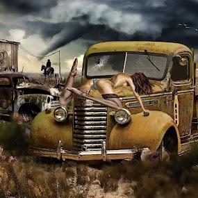 You gotto help me by Felix M - Digital Art People ( car wreck, hurrican, truck, horse, on the hood, cow boy, western look, storm, vintage gmc, shed, sexy, girl, gorgeous, vintage car, semi nude, tornnado, gloomy )