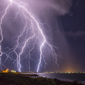Super Storm Strikes Australia by Steve Brooks - Landscapes Weather ( clouds, canon, perth, high based, ocean, thor, 6d, mandurah, lightning, australia, storms, sparks, rain, western australia )