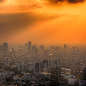 when the sun goes down, Bangkok-Thailand by Kitty Bern - Landscapes Sunsets & Sunrises ( , golden hour, sunset, sunrise )