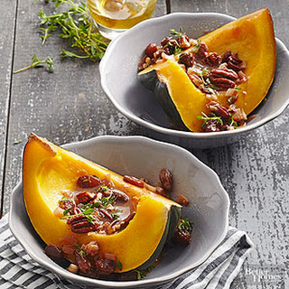 Slow Baked Acorn Squash with Rustic Raisin Sauce