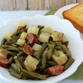 Slow Cooker Recipe ~ Green Beans, Sausage & Potato Dinner.