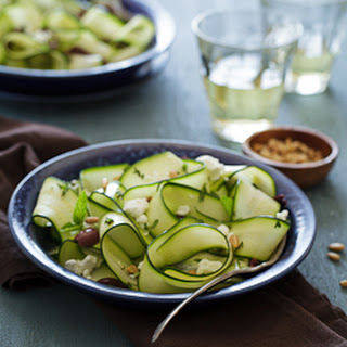Raw Zucchini Ribbon Salad with Olives and Mint.