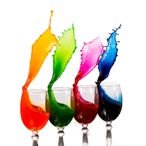 Pouring Fun by Fahad Iqbal - Abstract Water Drops & Splashes ( abstract, isolated, liquid, splash, colorful, high speed,  )