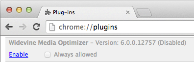Screenshot of Chrome plugin disabled