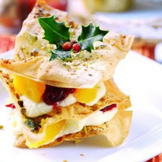 Cranberry, Ginger And Mascarpone Filo Stacks