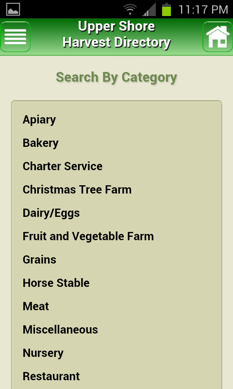 Upper Shore Harvest Directory - screenshot
