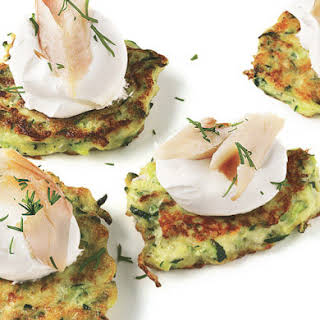 Zucchini Cakes with Smoked Trout.