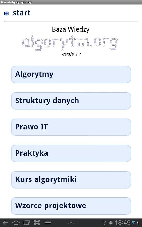 Baza Wiedzy algorytm.org- screenshot