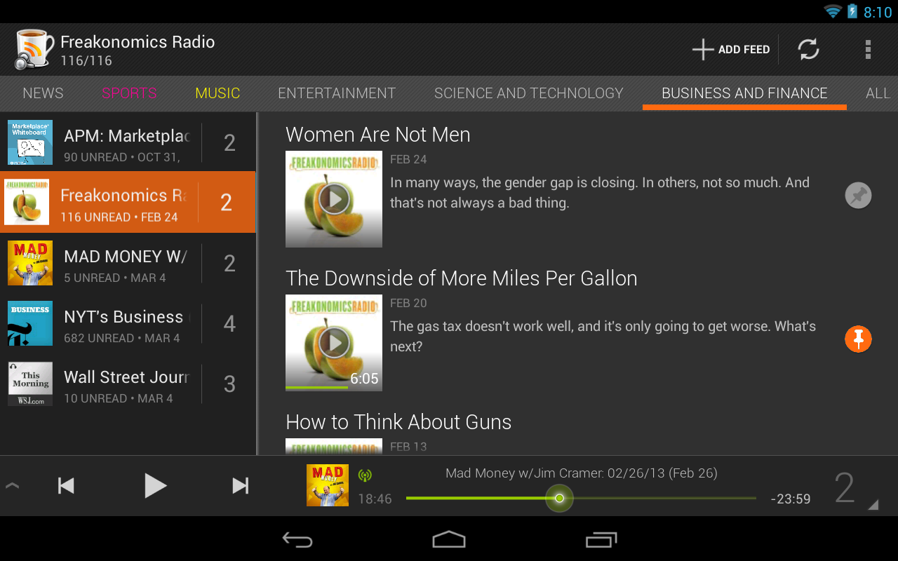 BeyondPod for Tablets - screenshot