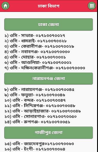বাংলাদেশ পুলিশের মোবাইল নম্বর