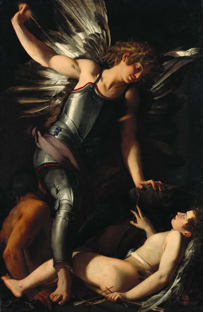 The Divine Eros Defeats the Earthly Eros (c.1602) by Giovanni Baglione – Oil on canvas painting of an armored winged youth (Anteros) standing poised to strike above a prone nude winged youth (Eros)