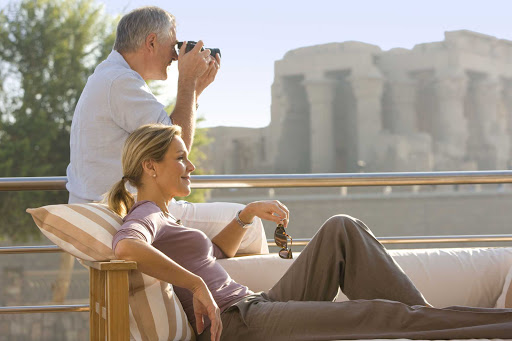Uniworld-River-Tosca-sundeck-sightseeing - Take in the sights of historic monuments from the comfort of River Tosca's sundeck as you explore Egypt on a Uniworld cruise.