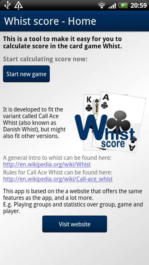 Whist score- screenshot