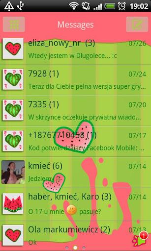 GO SMS Watermelon Heart Theme