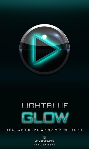 Poweramp Widget Lightblue Glow