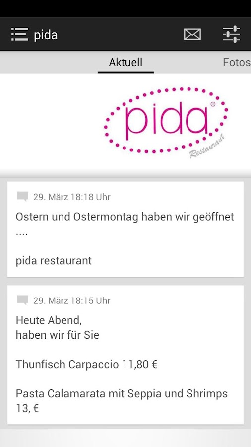 pida restaurant - screenshot