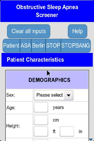 Sleep Apnea Screener- screenshot