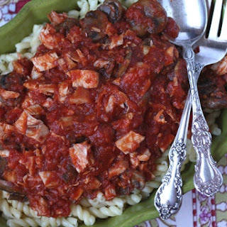 Mushroom Chicken Marinara Sauce with Gemelli Pasta.
