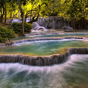 Kouangxi Water Fall, Laos PDR by Kitty Bern - Landscapes Waterscapes (  )